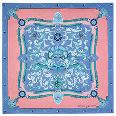 Aspinal Signature Shield Silk Scarf in Pink