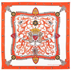 Aspinal Signature Shield Silk Scarf in Ivory & Orange