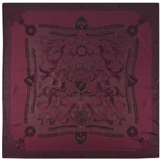 Aspinal Signature Shield Silk Scarf in Burgundy