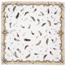 Aspinal Feather Silk Scarf in Beige & Cream