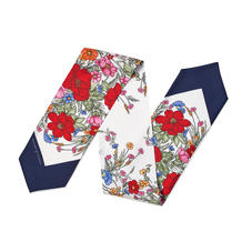 Poppy Design Silk Neck Bow Scarf in Red & Navy