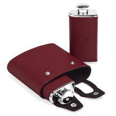 Double 6oz Leather Hip Flask in Smooth Burgundy & Black Suede
