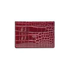 Slim Credit Card Holder in Bordeaux Patent Croc