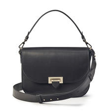 Slouchy Saddle Bag in Smooth Black