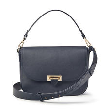 Slouchy Saddle Bag in Navy Pebble
