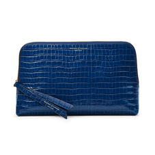 Large Essential Cosmetic Case in Deep Shine Blue Small Croc