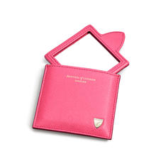 Compact Mirror in Bright Pink Saffiano