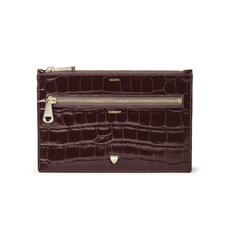 Receipts & Currency Pouch in Deep Shine Amazon Brown Croc