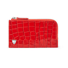 Zipped Card Wallet in Deep Shine Red Small Croc