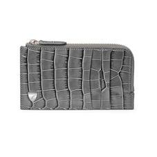 Zipped Card Wallet in Deep Shine Grey Small Croc