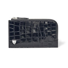 Zipped Card Wallet in Deep Shine Black Small Croc