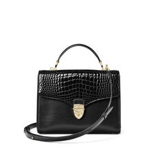 Mayfair Bag in Black Patent Croc & Smooth Black