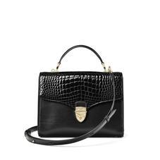Mayfair Bag in Black Patent Croc & Smooth Black