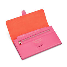 Classic Travel Wallet in Bright Pink Saffiano
