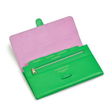 Classic Travel Wallet in Bright Green Saffiano