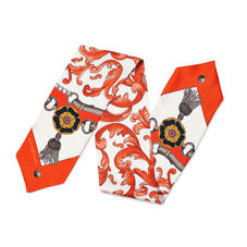 Signature Shield Silk Neck Bow Scarf in Orange