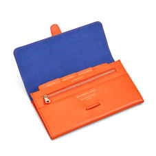 Classic Travel Wallet in Bright Orange Saffiano