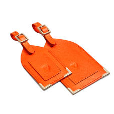 Set of 2 Luggage Tags in Bright Orange Saffiano