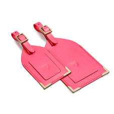 Set of 2 Luggage Tags in Bright Pink Saffiano