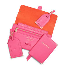 Travel Collection in Bright Pink Saffiano