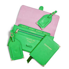 Travel Collection in Bright Green Saffiano