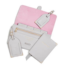 Travel Collection in Light Grey Saffiano