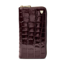 Vertical Continental Purse in Deep Shine Amazon Brown Croc