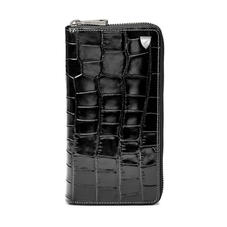 10 Card Zipped Coat Wallet in Deep Shine Black Croc