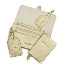 Travel Collection in Gold Saffiano