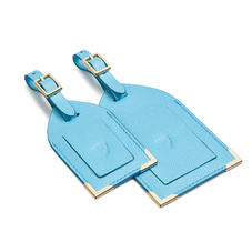 Set of 2 Luggage Tags in Bright Blue Saffiano