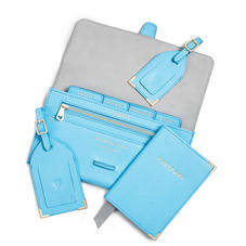 Travel Collection in Bright Blue Saffiano
