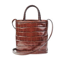 Bucket Bag in Deep Shine Brown Soft Croc
