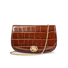 Equestrian Purse in Deep Shine Brown Soft Croc