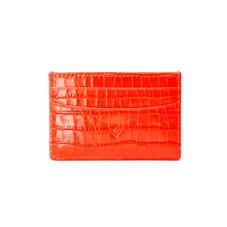 Slim Credit Card Holder in Deep Shine Orange Small Croc