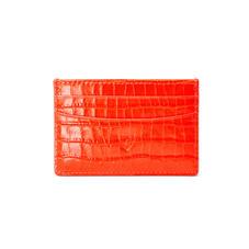 Slim Credit Card Holder in Deep Shine Orange Small Croc