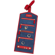 Travel Jewellery Roll in Scarlet Saffiano & Navy Suede