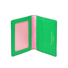 ID & Travel Card Holder in Bright Green Saffiano