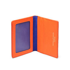 ID & Travel Card Holder in Bright Orange Saffiano