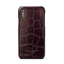 iPhone Xs Case in Deep Shine Amazon Brown Croc