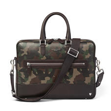 City Laptop Bag in Camouflage Print with Dark Brown Trim
