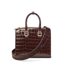 Midi Madison Tote in Deep Shine Amazon Brown Croc