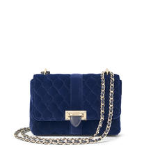 Small Lottie Bag in Navy Quilted Velvet