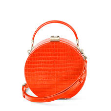 Hat Box in Deep Shine Orange Small Croc