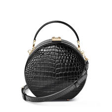 Hat Box in Black Patent Croc