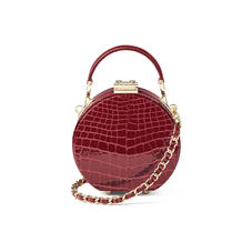 Micro Hat Box in Bordeaux Patent Croc