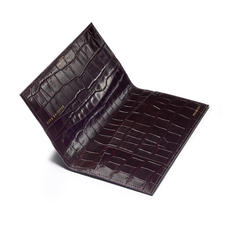 Slim Travel Wallet in Deep Shine Amazon Brown Croc