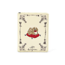 Pekingese Dog ID & Travel Card Case in Ivory Saffiano
