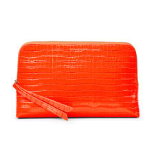 Large Essential Cosmetic Case in Deep Shine Orange Small Croc
