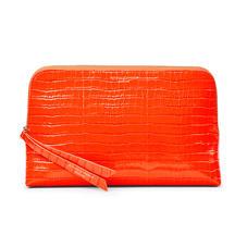 Large Essential Cosmetic Case in Deep Shine Orange Small Croc