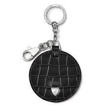 Disc Keyring in Deep Shine Black Small Croc